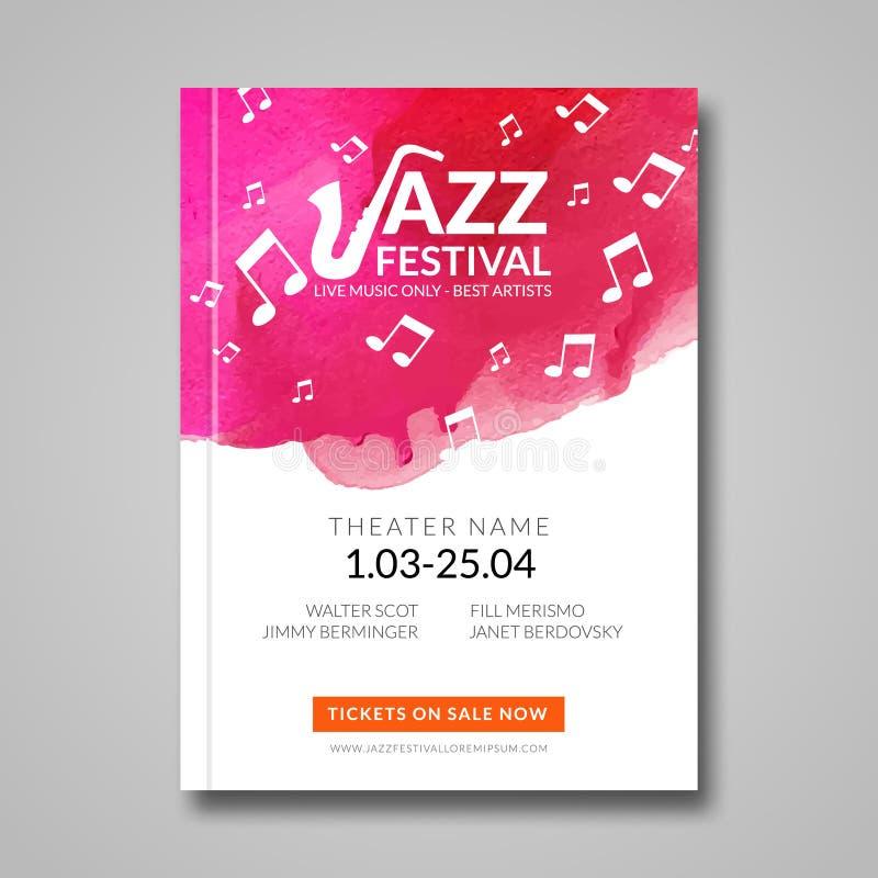 Wektorowy muzykalny plakatowy projekt Akwareli plamy tło Jazz, skała billboardu stylowy szablon dla karty, broszurka royalty ilustracja