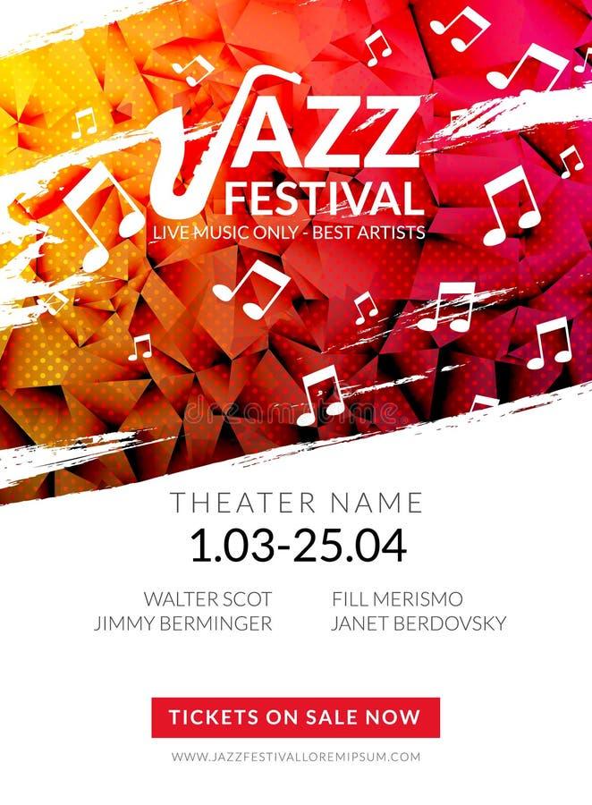 Wektorowy muzykalny ulotka festiwal jazzowy Muzyczny plakatowy tło festiwalu broszurki ulotki szablon royalty ilustracja