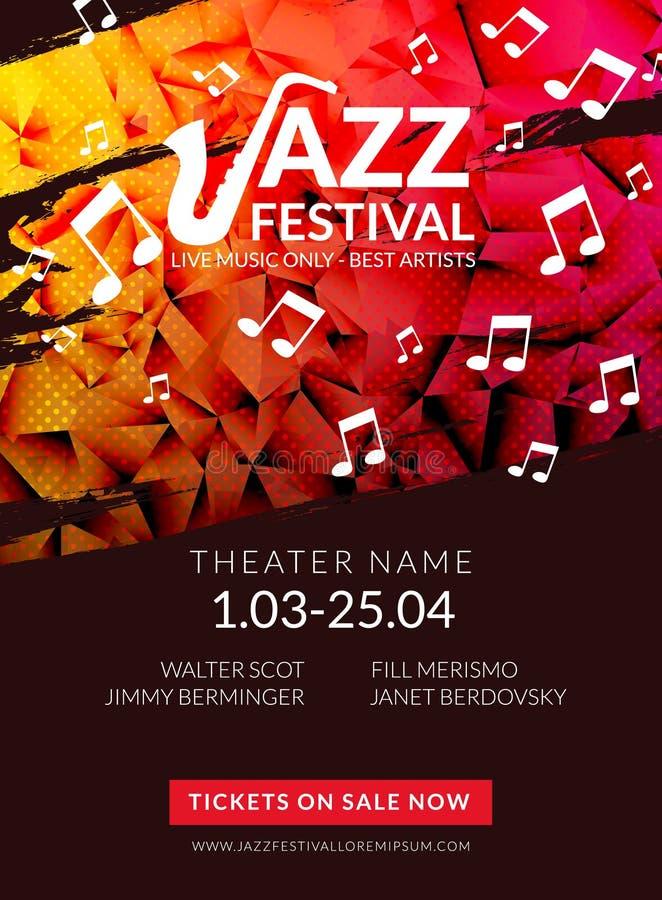 Wektorowy muzykalny ulotka festiwal jazzowy Muzyczny plakatowy tło festiwalu broszurki ulotki szablon ilustracji