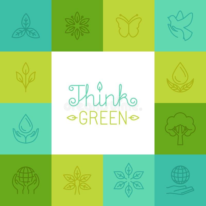Wektorowy myśli zieleni pojęcie w liniowym stylu ilustracja wektor