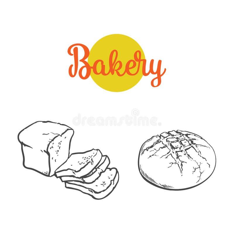 Wektorowy nakreślenia ciemnego brązu chleba pokrojony set royalty ilustracja