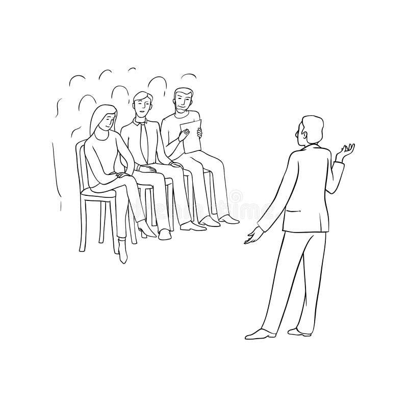 Wektorowy nakreślenia czerni kontur odizolowywał ilustrację ludzie biznesu Kobiety i mężczyzna przy konferencją, spotkanie i ilustracji