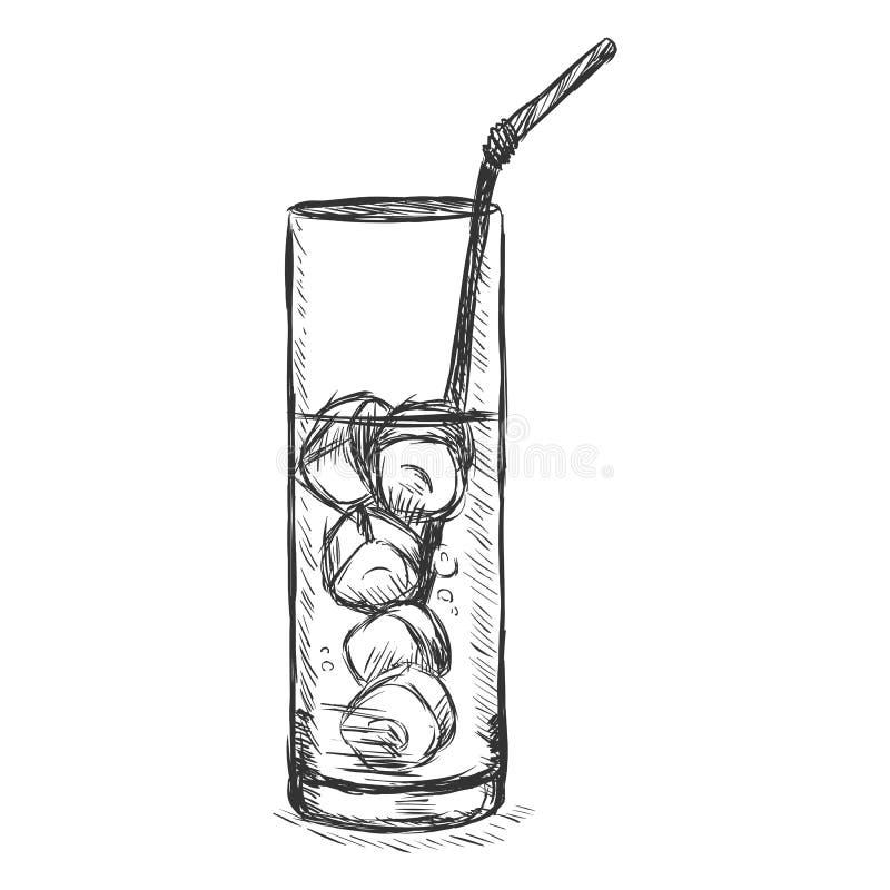 Wektorowy nakreślenia szkło lemoniada na skałach z słomą royalty ilustracja