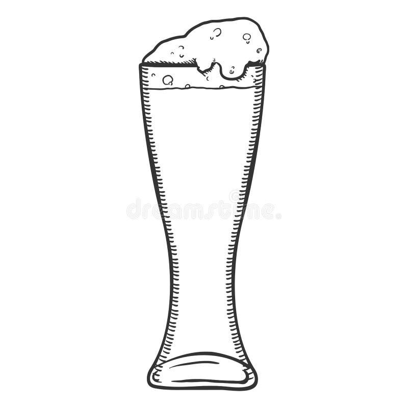 Wektorowy nakreślenia szkło piwo z pianą ilustracja wektor