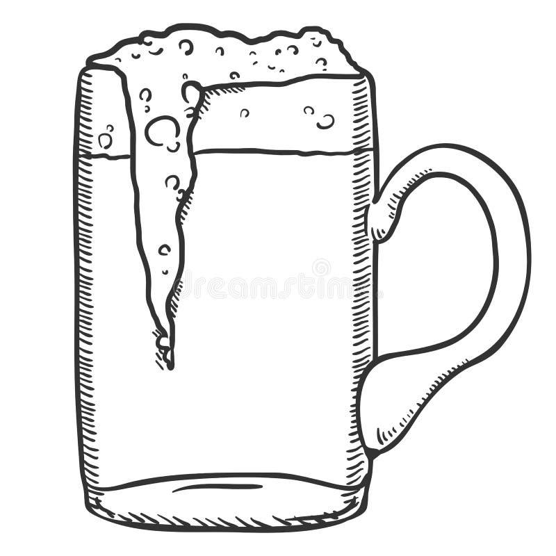 Wektorowy nakreślenia szkło piwo z pianą ilustracji