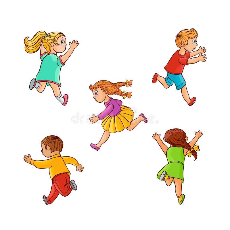 Wektorowy nakreślenie biega ranaway dzieciaków ustawiających royalty ilustracja