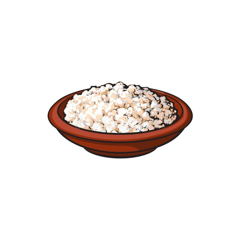 Wektorowy nakreślenie chałupy ser w ceramicznym brown garnku ilustracja wektor