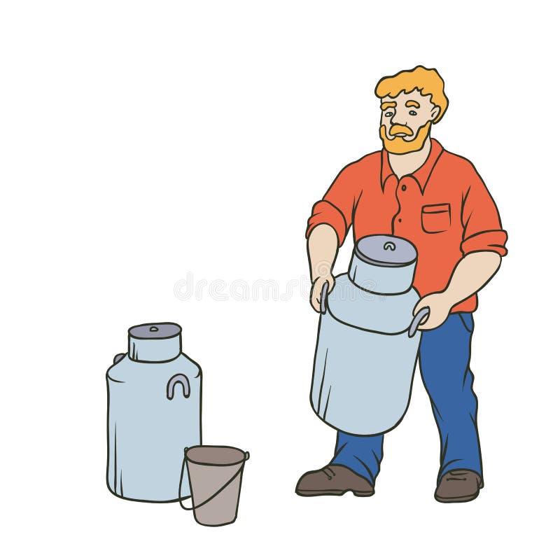 Wektorowy nakreślenie coloured odosobniona ilustracja rolnik Czerwony brodaty wioska mężczyzna w pracujących ubraniach na rancho  ilustracji