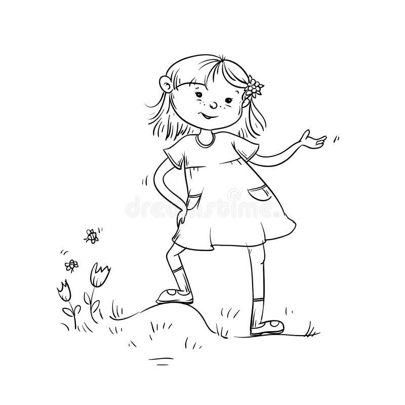 Wektorowy nakreślenie dziewczyny nastolatek warty znacząco i mówi Dziecko w sukni na łące z trawą, kwiatami i motylami, ilustracji