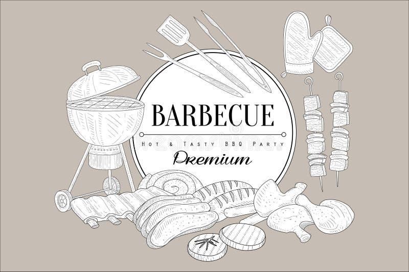 Wektorowy nakreślenie grill, kuchenni naczynia dla, gotuje, karmowego kebabu, kurczak nogi, ziobro, stek, wołowina, wieprzowina,  ilustracji