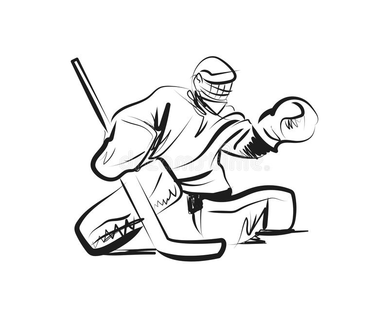 Wektorowy nakreślenie hokeja bramkarz royalty ilustracja
