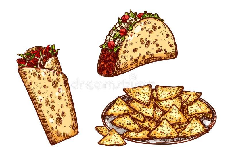 Wektorowy nakreślenie ikon fast food przekąsza tacos burrito royalty ilustracja