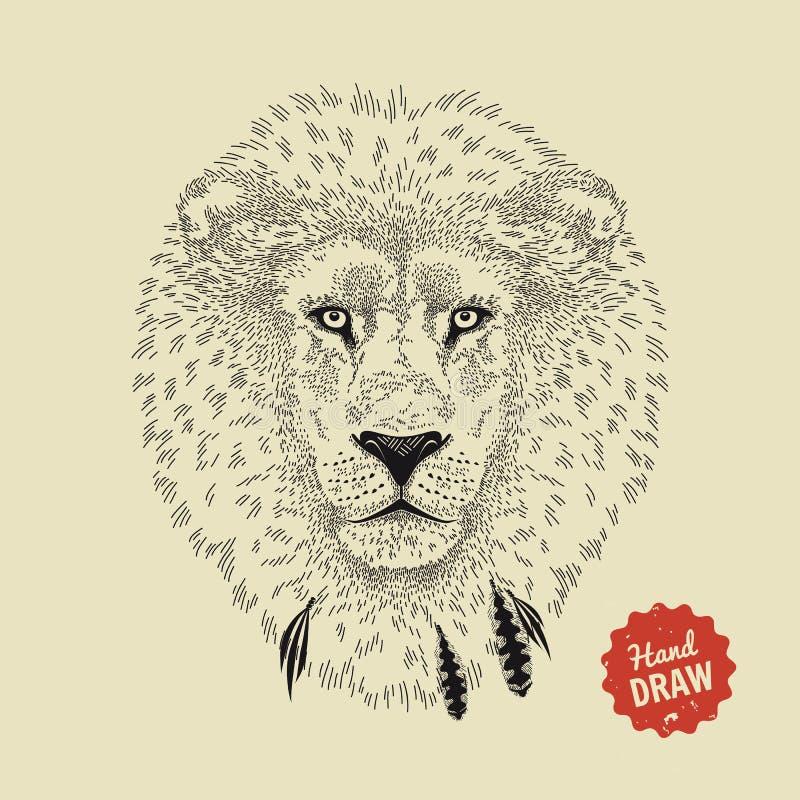 Wektorowy nakreślenie lew twarz Lew głowa, frontowy widok ilustracji