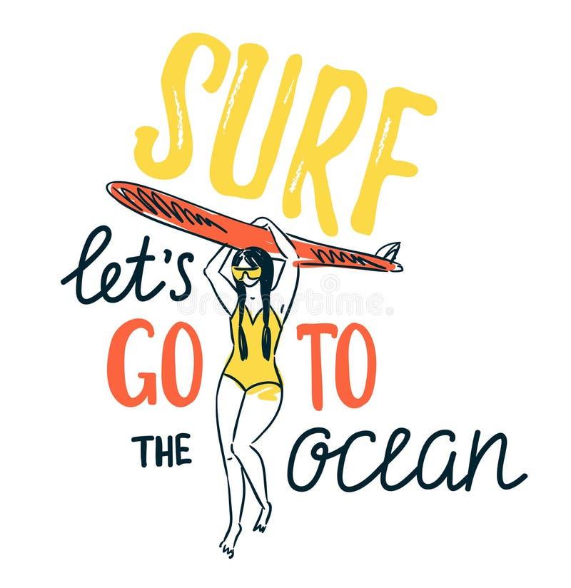 Wektorowy nakreślenie młoda kobieta w pływanie kostiumu sylwetki mienia surfboard ilustracji
