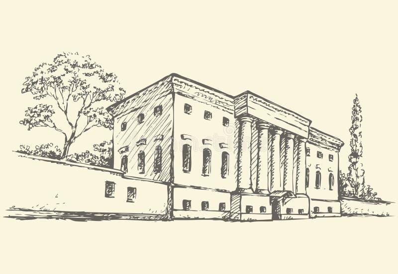 Wektorowy nakreślenie Masywny budynek z kolumnadą ilustracja wektor