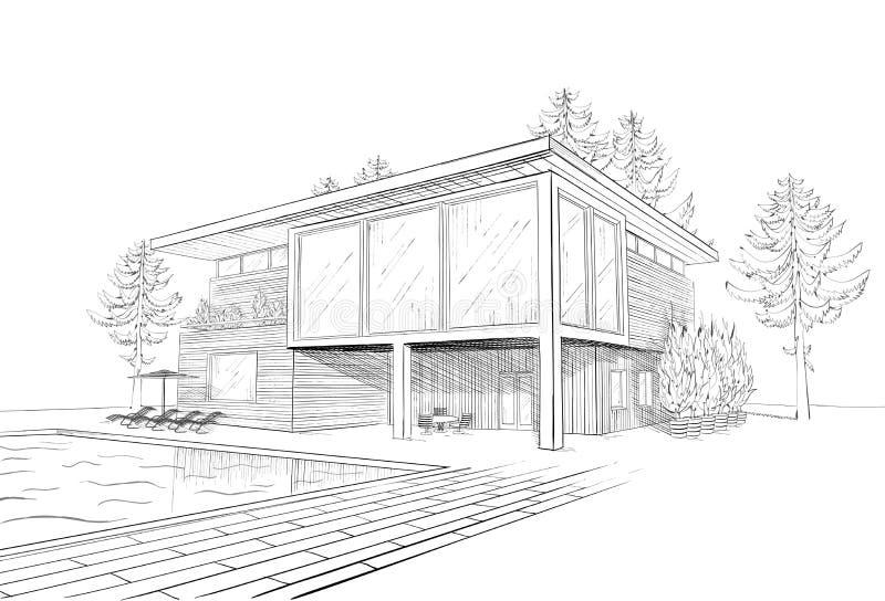 Wektorowy Nakreślenie nowożytny dom z swimmingpool ilustracja wektor