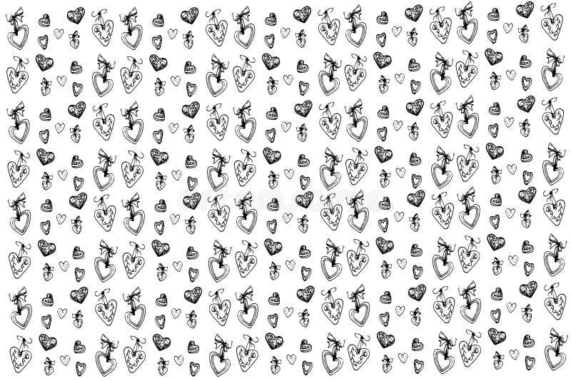 Download Wektorowy Nakreślenie Piękni Wakacyjni Serca I Tło Ilustracja Wektor - Ilustracja złożonej z elegancja, miłość: 65226231