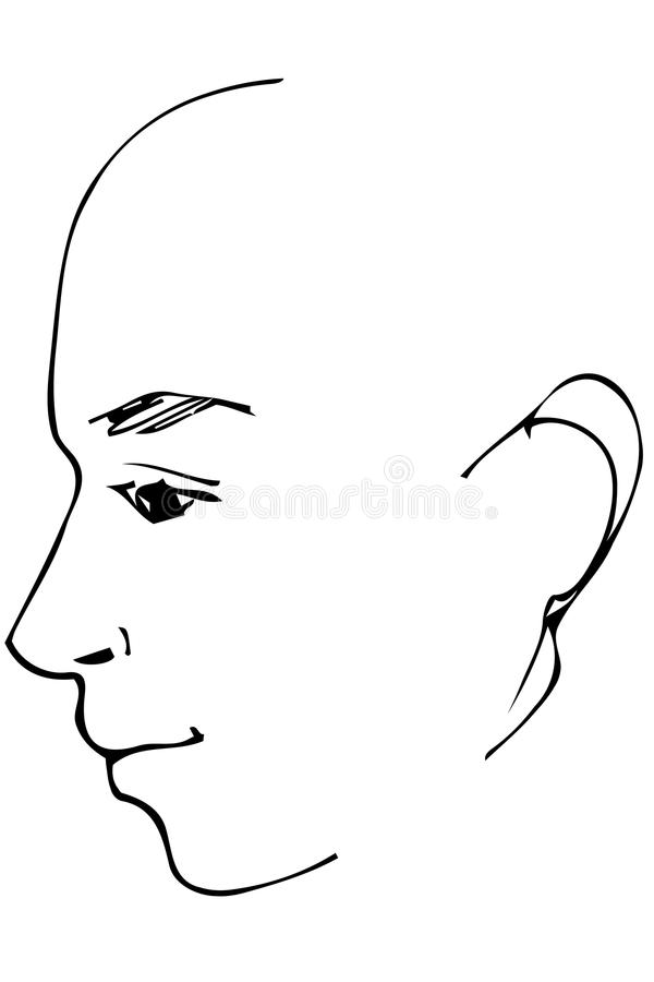 Wektorowy nakreślenie piękny mężczyzna profil ilustracja wektor
