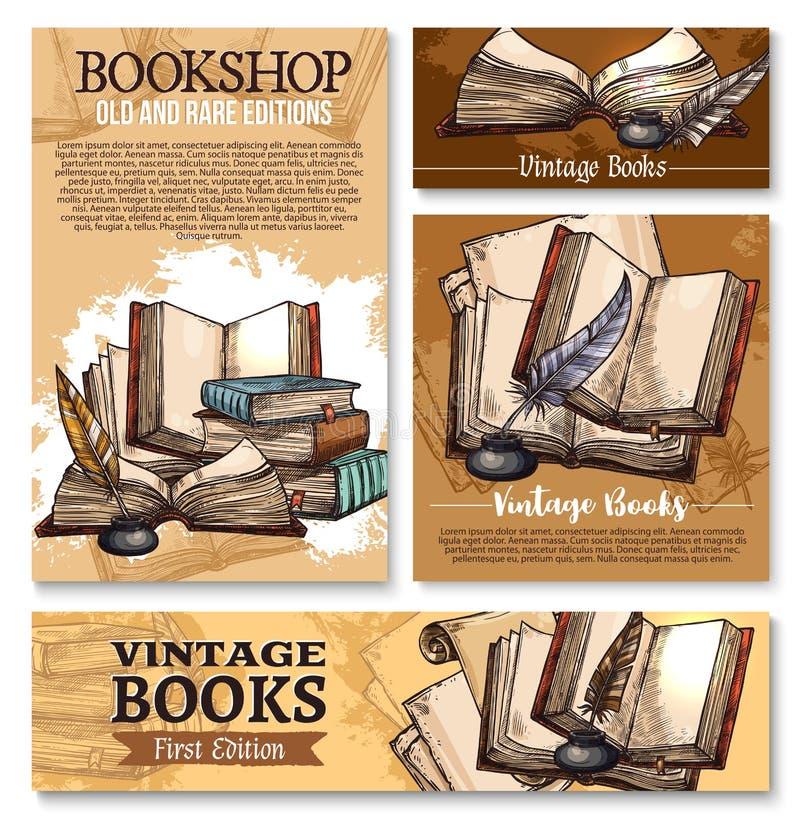Wektorowy nakreślenie plakat dla starego rocznika rezerwuje biblioteki ilustracja wektor