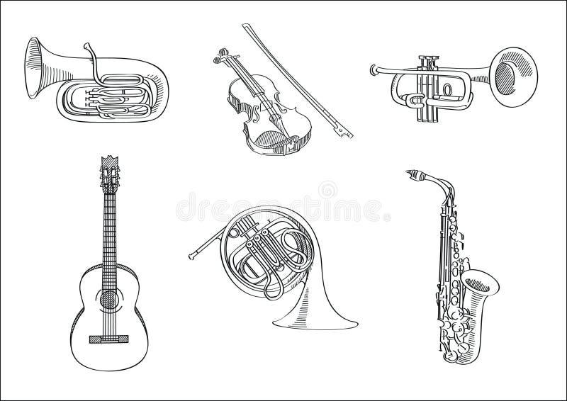 Wektorowy nakreślenie set instrumenty muzyczni ilustracji