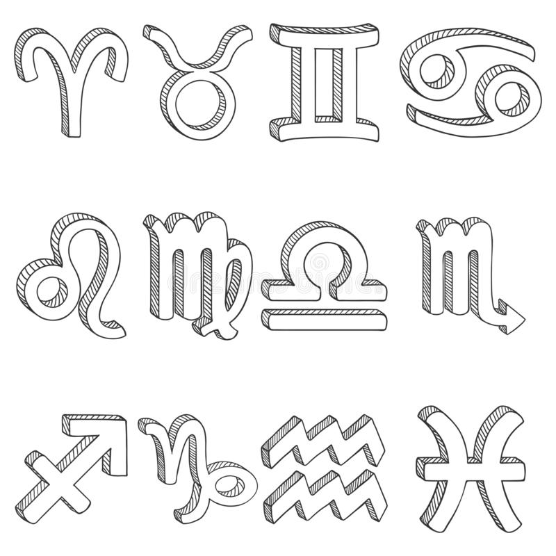 Wektorowy nakreślenie set 12 zodiaka znaka astrologiczni symboli ilustracja wektor
