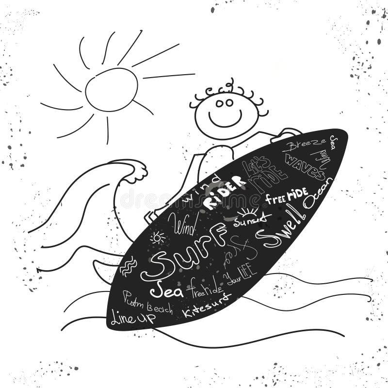 Wektorowy nakreślenie surfingowa i morza fala Ręka rysująca ilustracja z kipiel jeźdzem royalty ilustracja