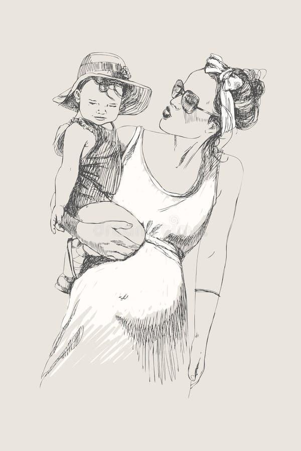 Wektorowy nakreślenie szczęśliwy rodzina rodzic, dzieci i Ciążowy pojęcie zarygluj składu pojęcia rodziny orzechy pocałunek miłoś royalty ilustracja