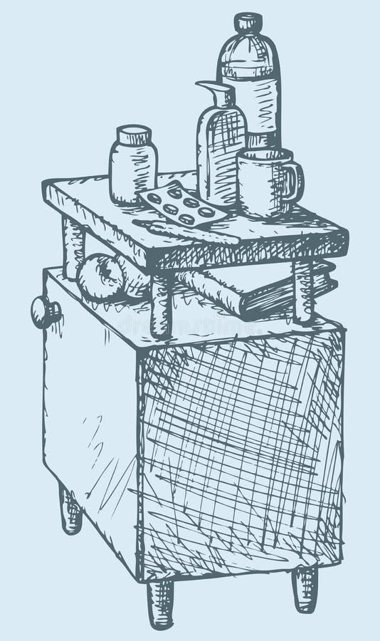Wektorowy nakreślenie szpitalny wezgłowie medycyna ilustracja wektor