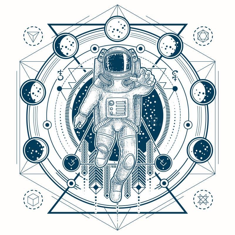 Wektorowy nakreślenie tatuaż z astronauta w astronautycznego kostiumu i księżyc fazach ilustracja wektor