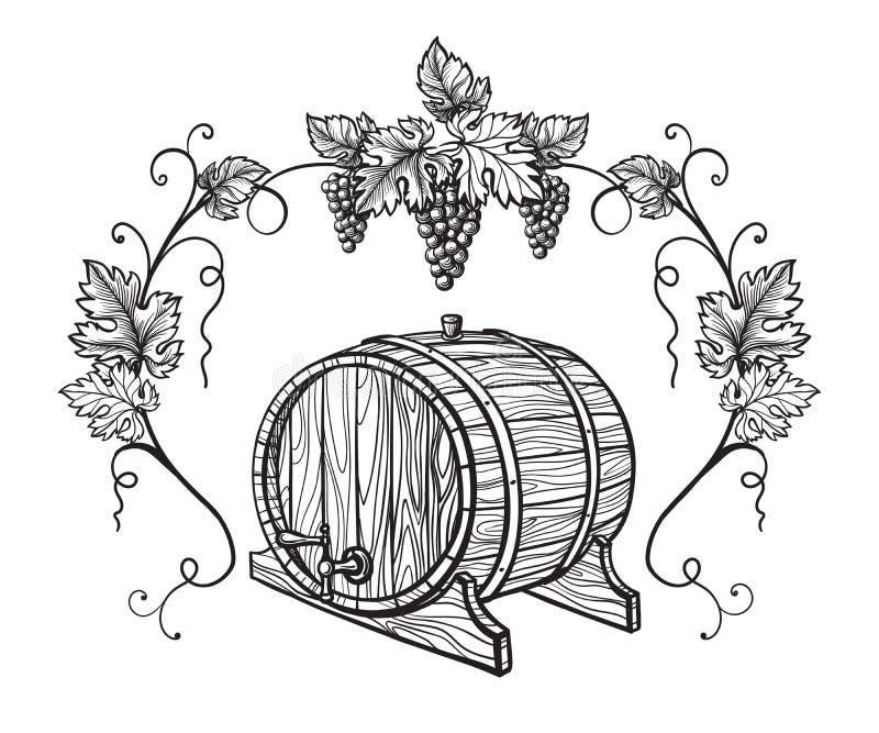 Wektorowy nakreślenie winogrona, wina szkło dla projekta royalty ilustracja