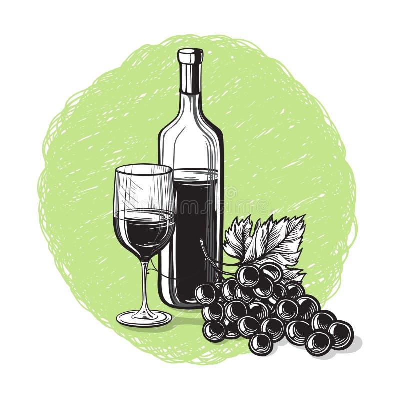 Wektorowy nakreślenie winogrona, wina szkło dla projekta ilustracja wektor