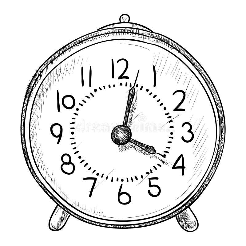 Wektorowy nakreślenie zegar royalty ilustracja