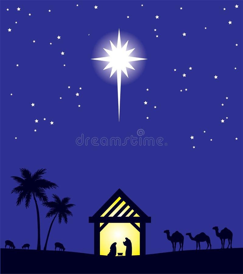 Wektorowy narodzenie jezusa sceny bożych narodzeń tło Betlejem gwiazda royalty ilustracja