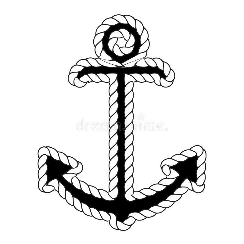 Wektorowy Nautyczny Kotwicowy logo ikona maritimer Dennego oceanu Łódkowaty Ilustracyjny symbol ilustracja wektor