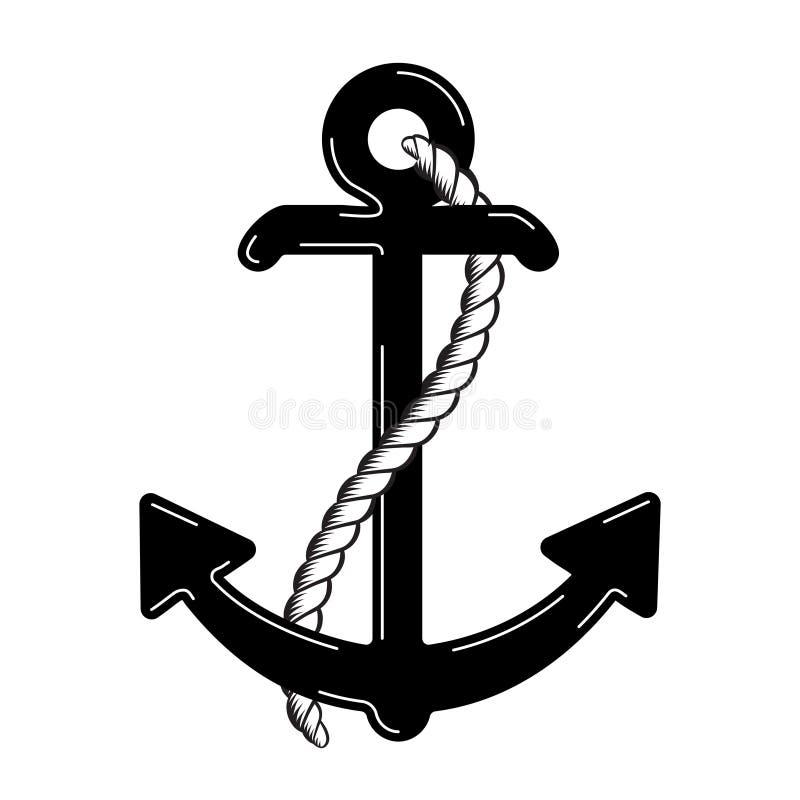 Wektorowy Nautyczny Kotwicowy logo ikona maritimer Dennego oceanu Łódkowaty Ilustracyjny symbol ilustracji