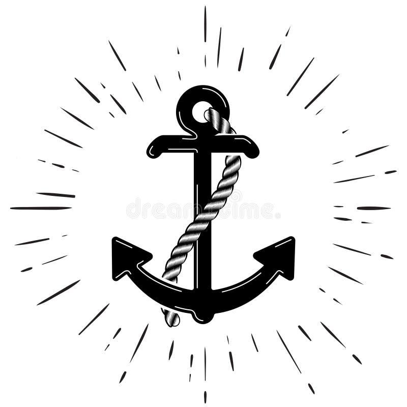 Wektorowy Nautyczny Kotwicowy logo ikona maritimer Dennego oceanu Łódkowaty Ilustracyjny symbol royalty ilustracja