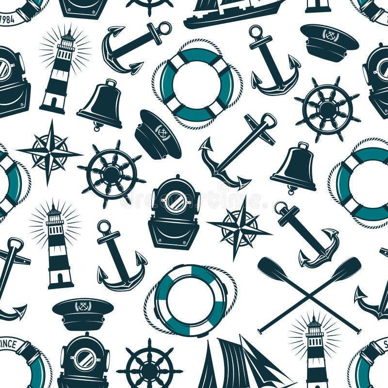 Wektorowy nautyczny morski heraldyczny bezszwowy wzór ilustracja wektor