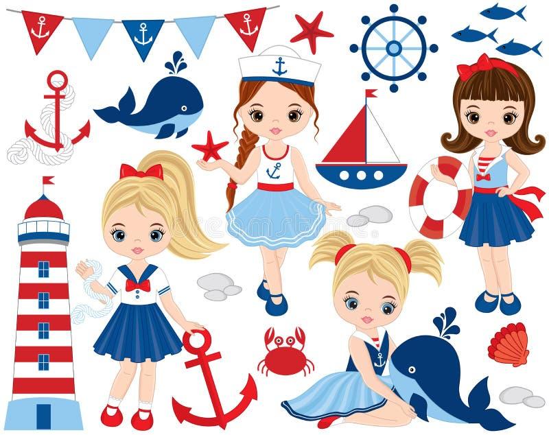 Wektorowy Nautyczny set z Ślicznymi małymi dziewczynkami, wielorybami i krabami, royalty ilustracja