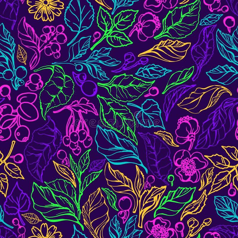 Wektorowy neonowy bezszwowy wzór Natury gałąź, liście, kwiat Naturalna organicznie roślina royalty ilustracja