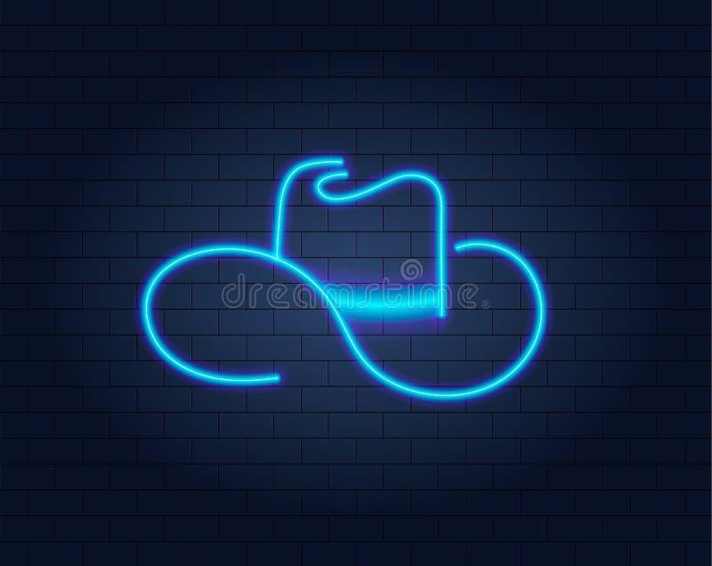 Wektorowy Neonowy kowbojski kapelusz na ściana z cegieł tle, Rozjarzony znak ilustracja wektor