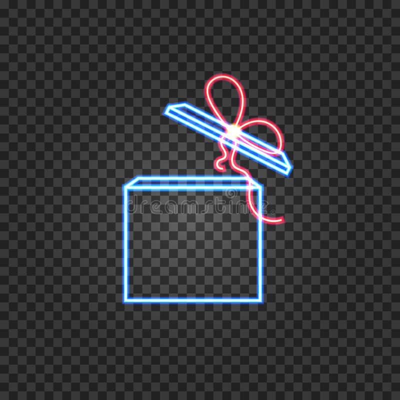 Wektorowy Neonowy prezenta pudełko, Jaskrawa Kolorowa ilustracja, Świąteczna Olśniewająca ikona ilustracji