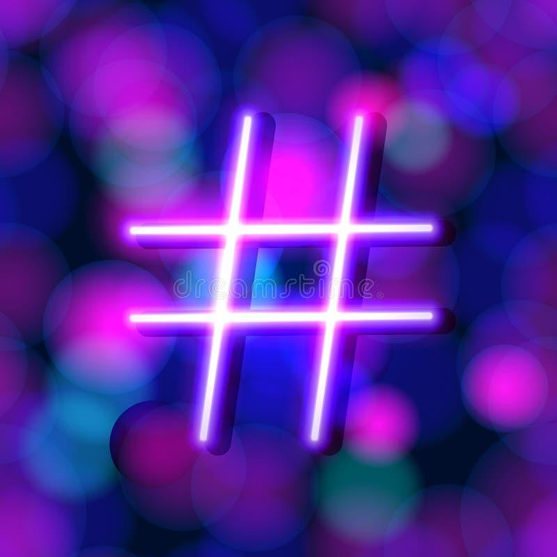Wektorowy Neonowy Rozjarzony Hashtag na Błyszczącym tle, menchiach i Błękitnych Jaskrawych kolorach, royalty ilustracja