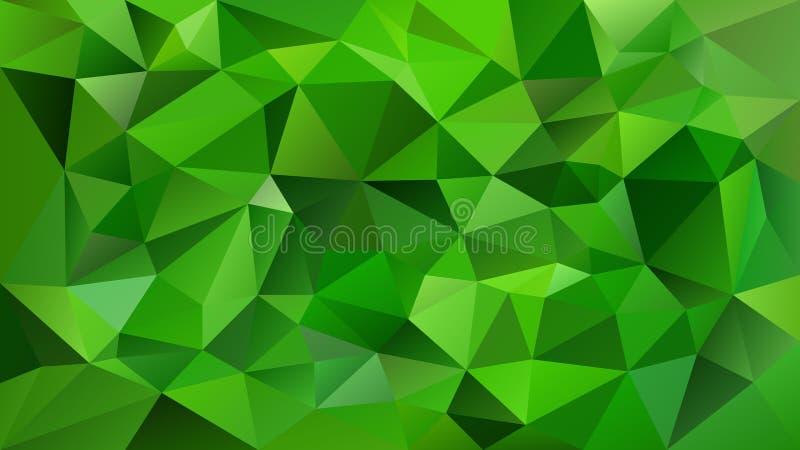 Wektorowy nieregularny poligonalny kwadratowy tło wibrujący szmaragdowy zielony kolor - trójboka niski poli- wzór - royalty ilustracja