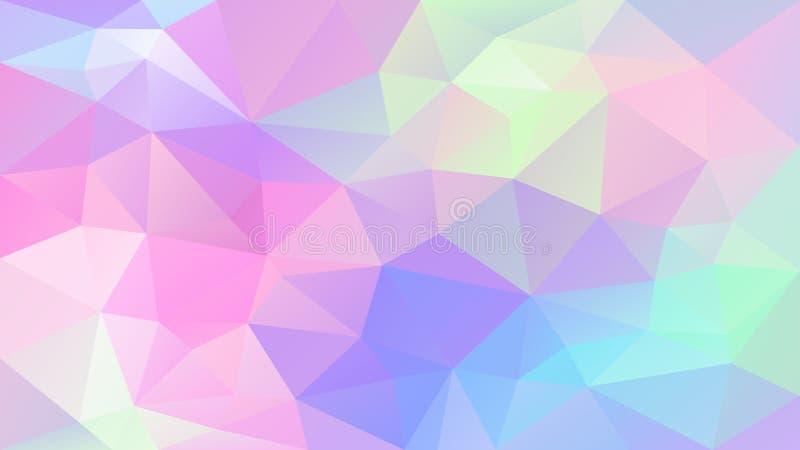 Wektorowy nieregularny poligonalny tło śliczny holograficzny kolor - menchia, błękit, purpura, fiołek, - trójboka niski poli- wzó ilustracja wektor