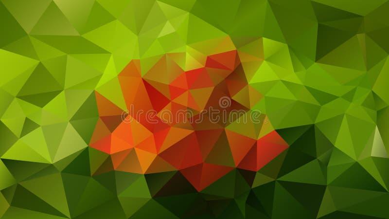 Wektorowy nieregularny poligonalny tło spadków jesienni liście barwi - naturalna zieleń i pomarańcze - trójboka niski poli- wzór  ilustracji