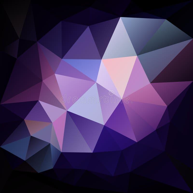 Wektorowy nieregularny wieloboka tło z trójboka wzorem w ciemnych purpurach, błękit i czerń, barwimy ilustracja wektor