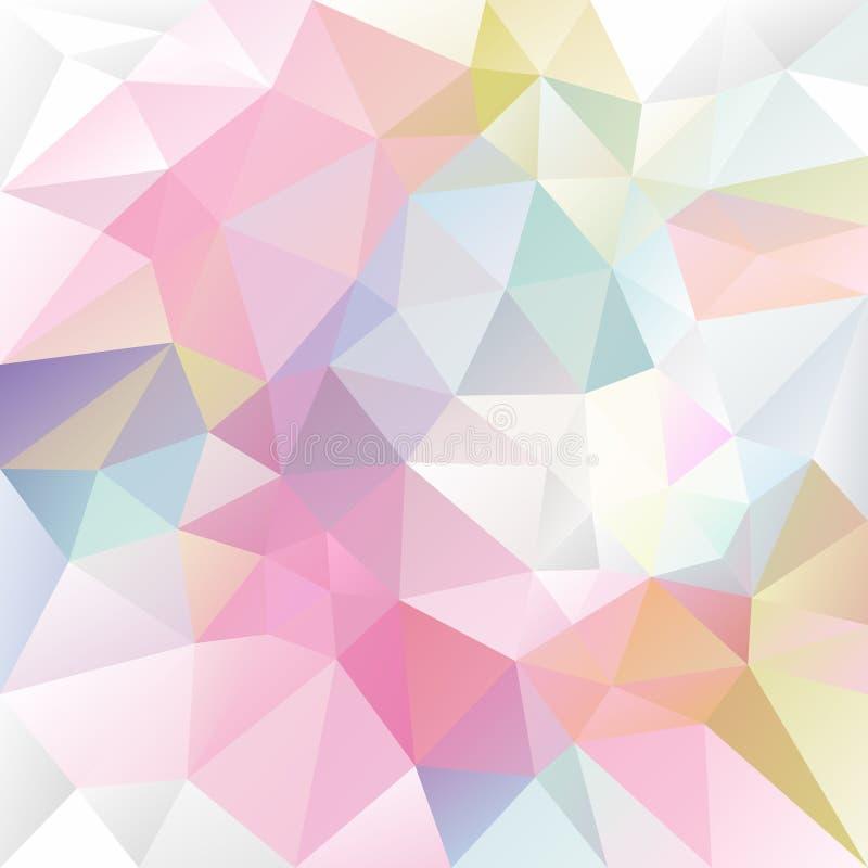Wektorowy nieregularny wieloboka tło z trójboka wzorem w lekkiego dziecka pastelowych kolorach royalty ilustracja