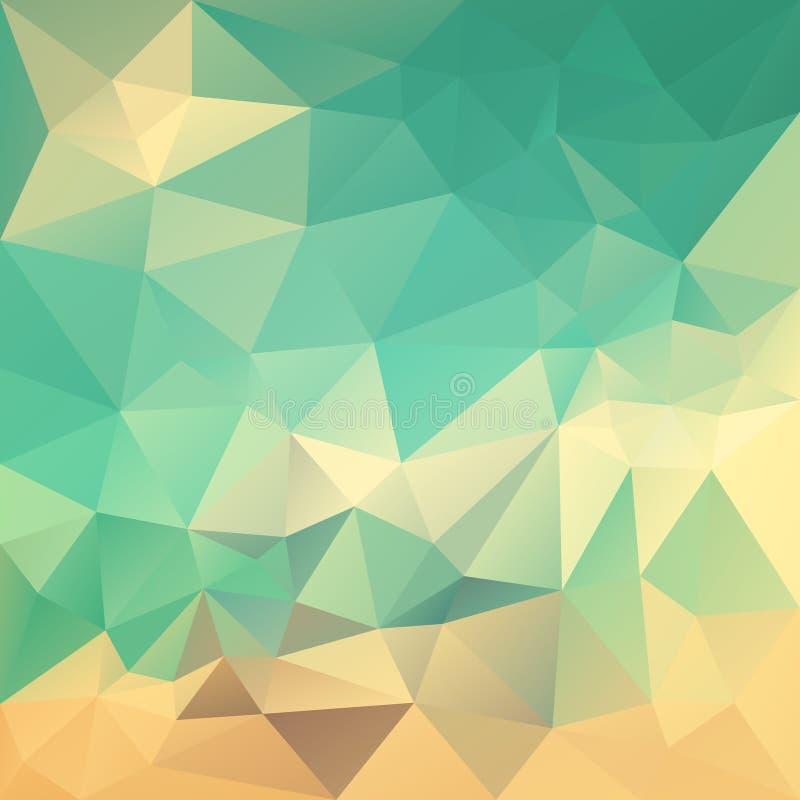 Wektorowy nieregularny wieloboka tło z trójboka wzorem w retro kolorze - błękit, zieleń, beż, pomarańcze, piasek ilustracji