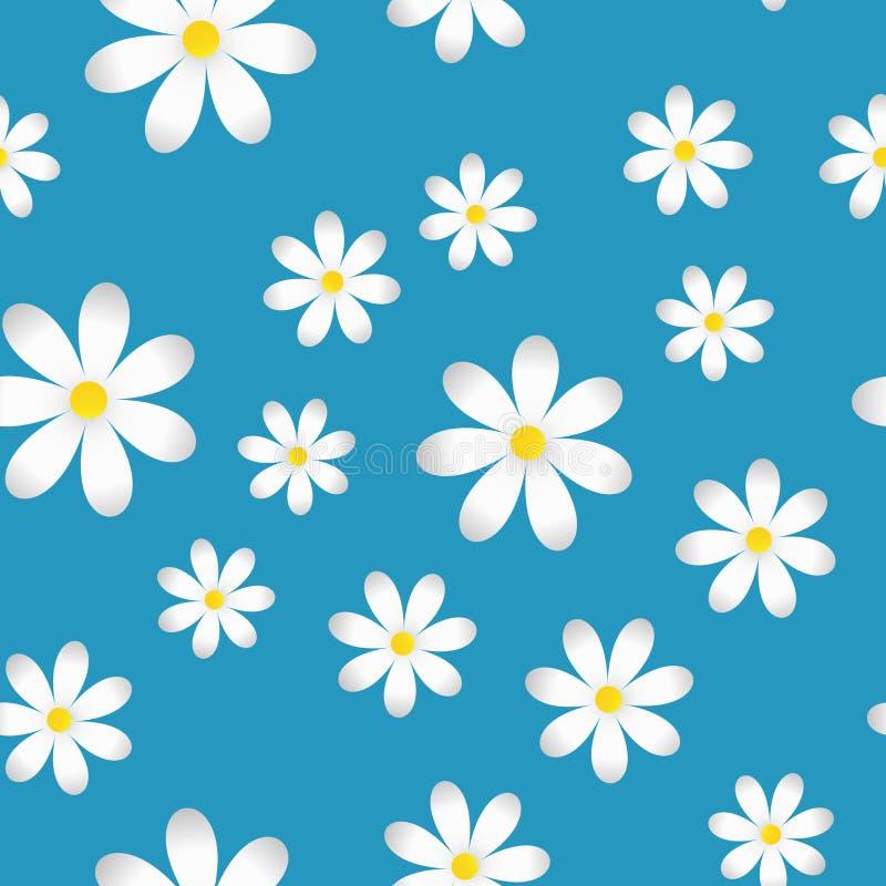 Wektorowy nieskończony wiosny tło z rumiankami Wzór biali rumianki ilustracja wektor