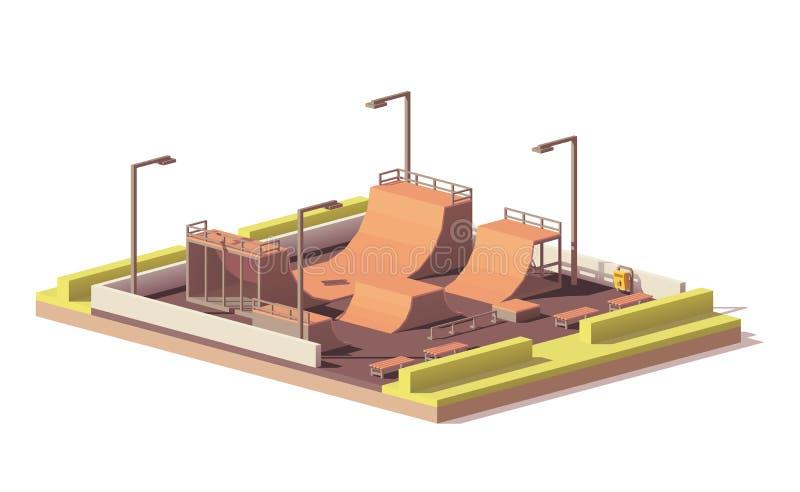 Wektorowy niski poli- łyżwa park royalty ilustracja